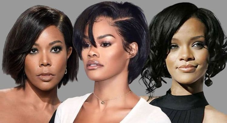 Side swept short bob haircuts for black women
