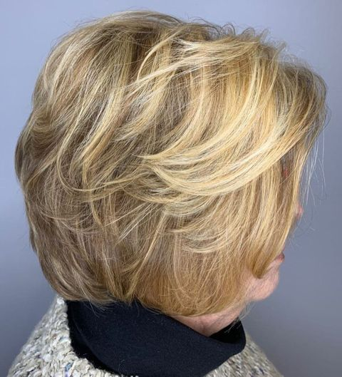 Layered feathered bob hairstyle