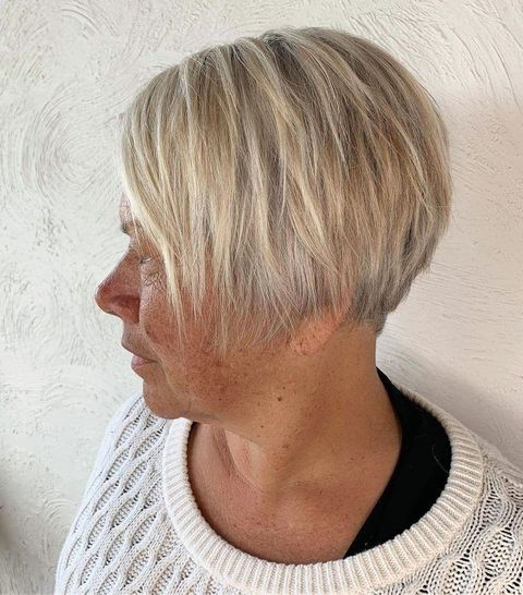 Razored pixie bob haircut for women over 60