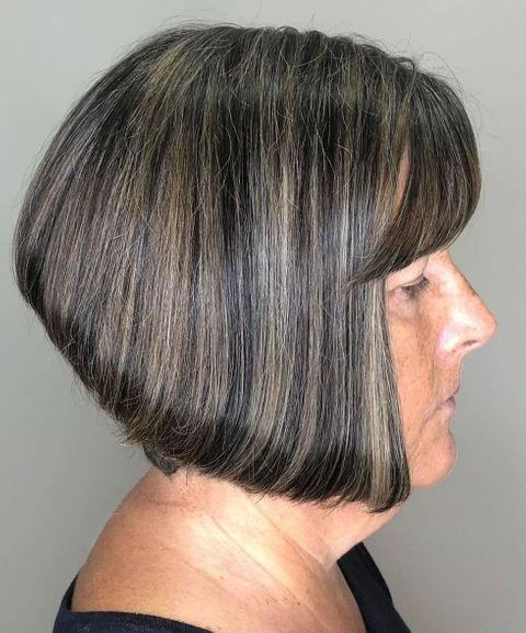 Stacked bob haircut for women with oval face