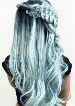 Waterfall braids long hair with green hair color