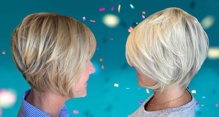 Layered short bob haircuts for women over 60