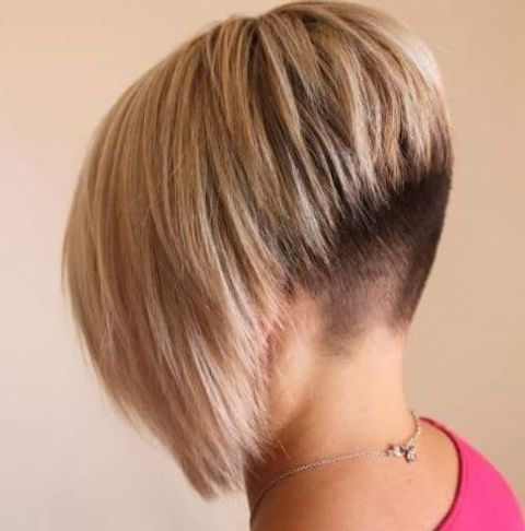 Back undercut angled short bob for women in 2021-2022