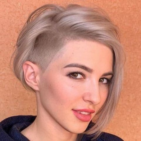 Side undercut short bob with long bangs for women in 2021-2022
