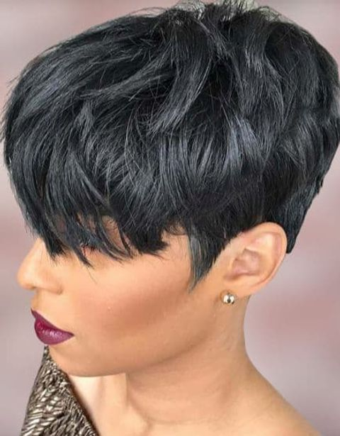 Short pixie layered haircut for black women