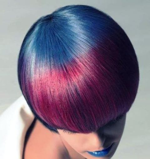 Blue to red color short haircut 2021-2022