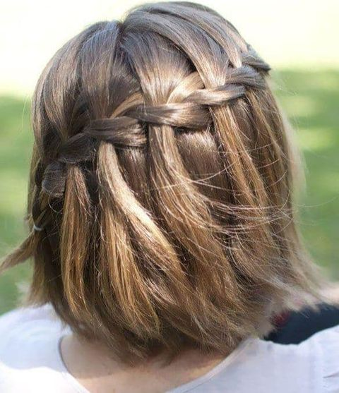 Short hair with waterfall braids for women in 2021-2022