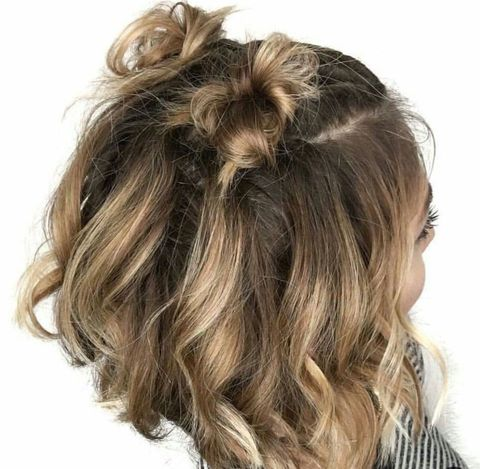 Short hairstyle with double ribbons for women in 2021-2022