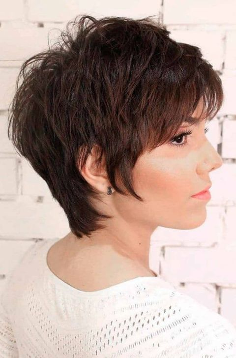 Brown layered long pixie cut