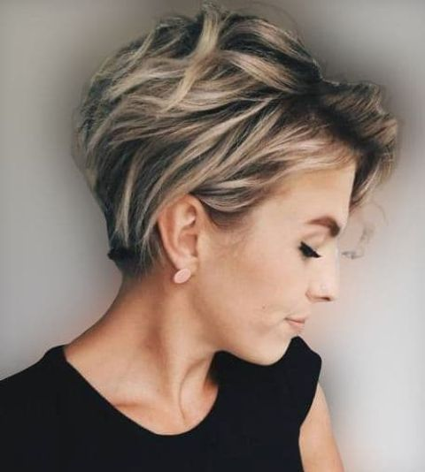 Layered long pixie with blonde balayage