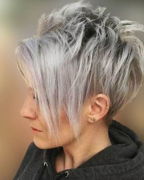Long pixie cut with long bangs with grey balayage