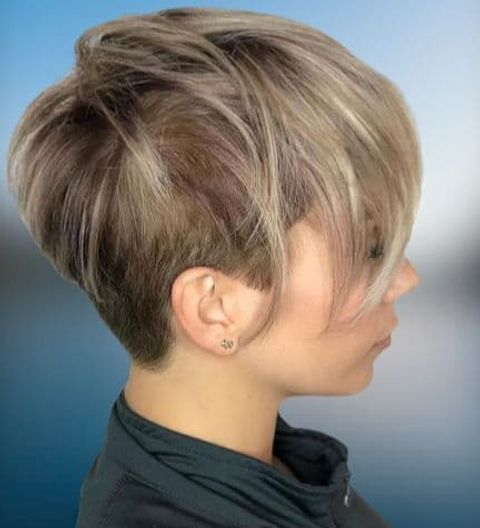 Undercut long pixie style with blonde balayage