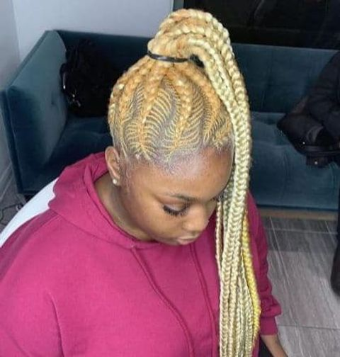 Blonde braids high ponytail for afro-american women 2021-2022