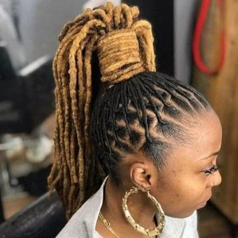 Blonde color dreadlock high ponytail hair for black women in 2021-2022