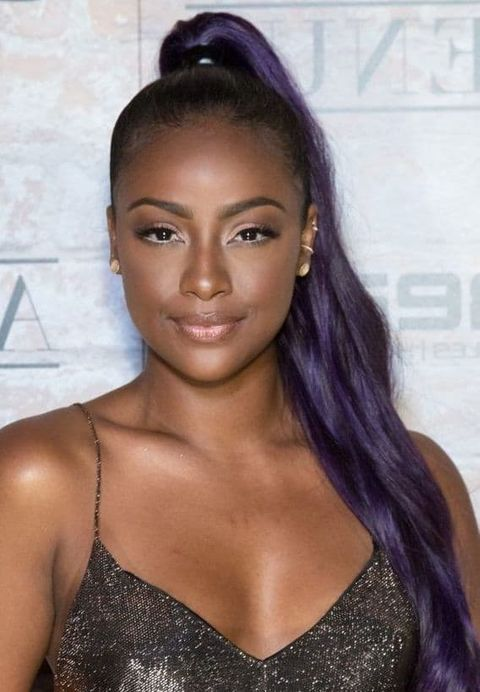 Purple straight hair high ponytail hair for black women in 2021-2022