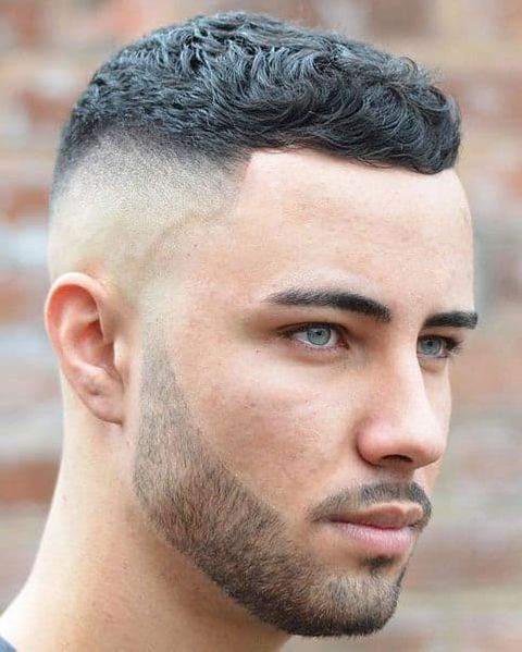 Curly hair crew cut mid fade