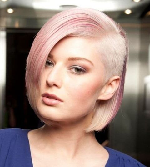 Asymmetrical undercut long bob hairstyle