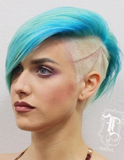 Blue to blonde undercut short hair