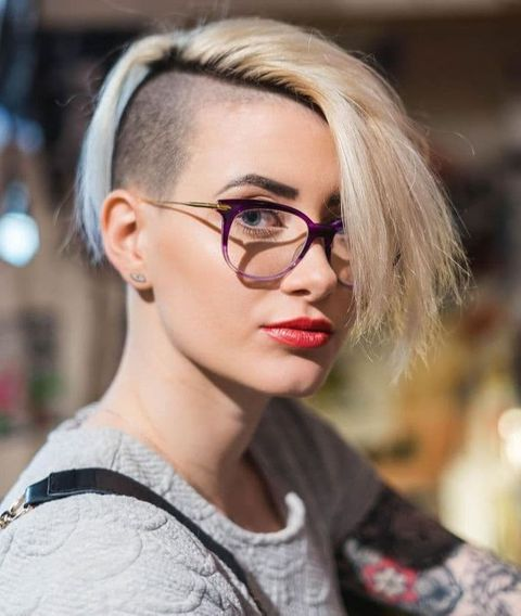 Cool asymmetrical undercut short hair with bangs