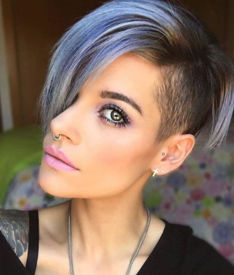Grey short hair with undercut