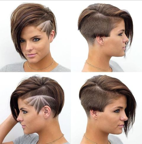 Modern design undercut asymmetrical short hair