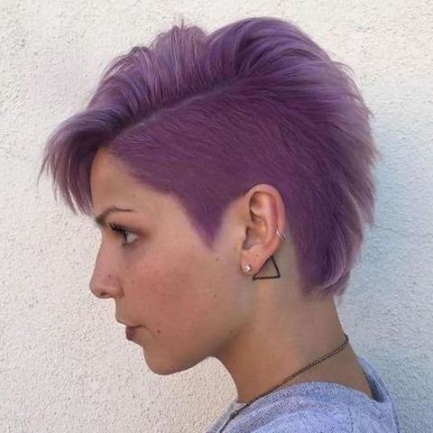 Purple short undercut hairstyle