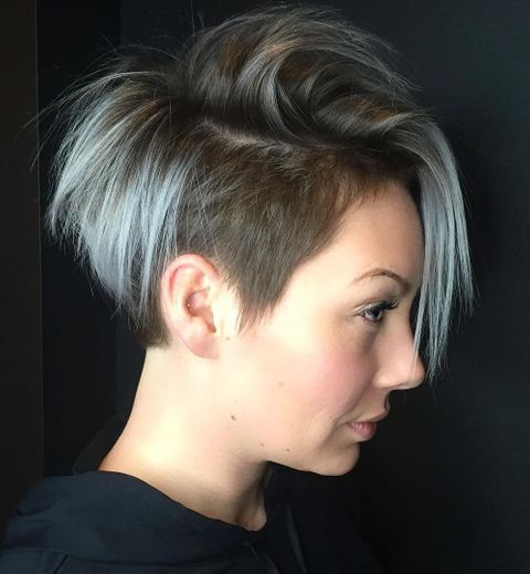 Undercut short bob with bangs