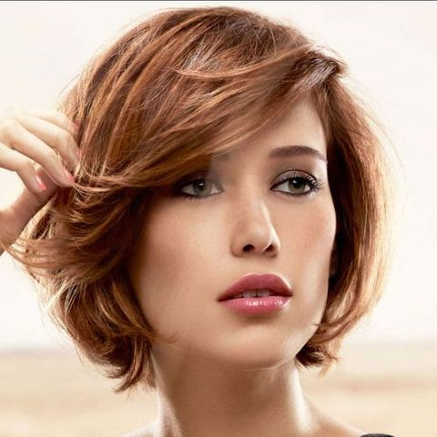 Chin length short bob brown color