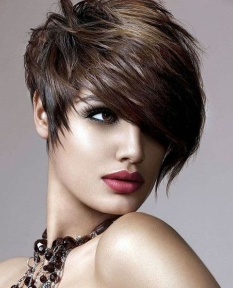 Layered short pixie cut