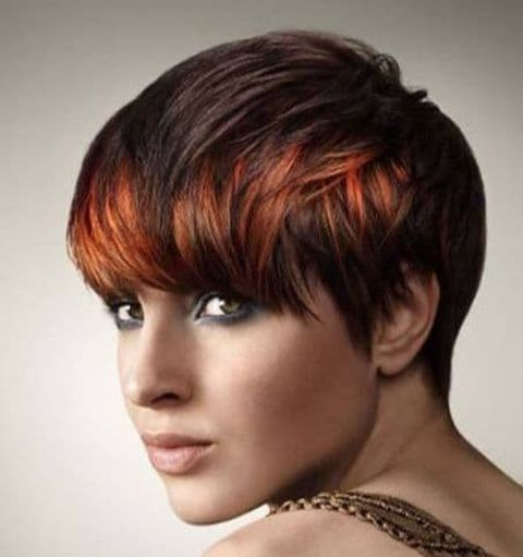 Pixie haircut with brown hair color