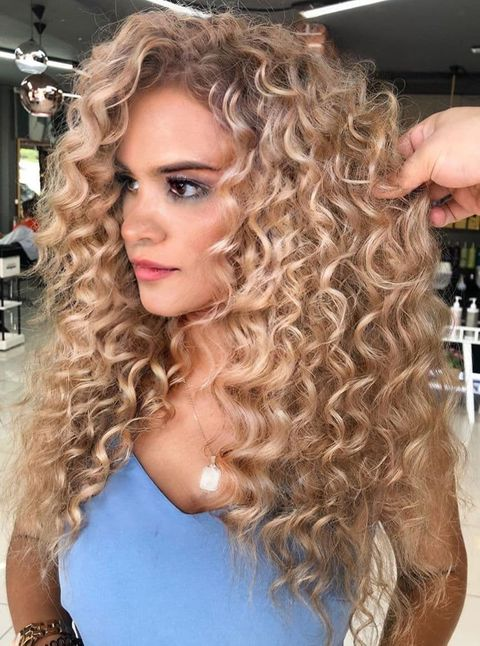 Champagne Blonde Curly Hair