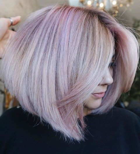 White Blonde Hair with Blush Highlights