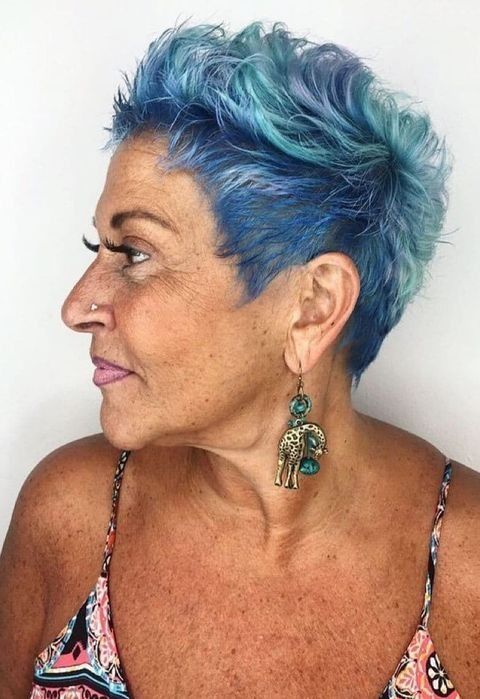 Blue short pixie cut over 50
