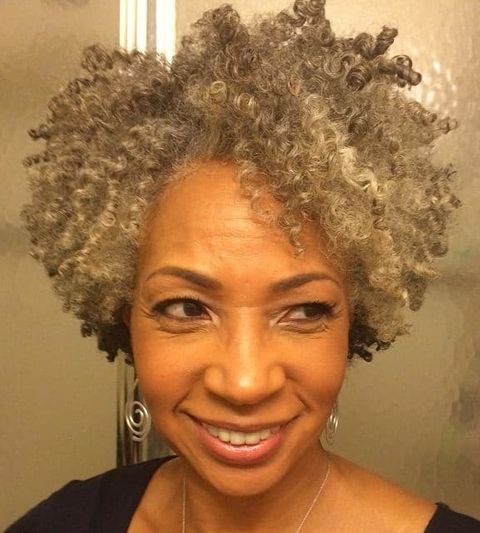 Curly Natural short haircut for black women over 50