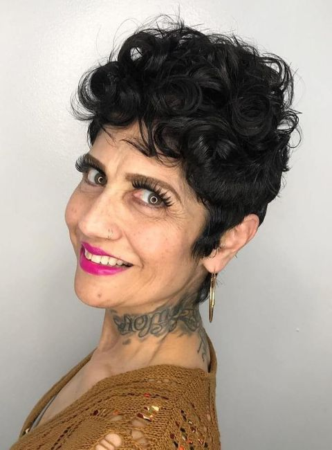 Curly short pixie style over 50