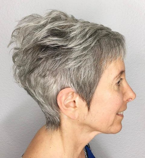 Grey hair color short haircut over 50