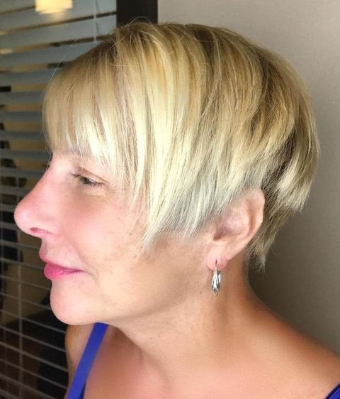 Ombre blonde short hair over 50