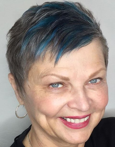 Pixie cut with blue balayage for women over 50