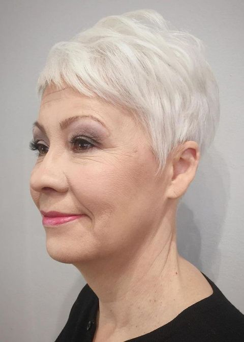 Pixie cut  with short bangs for women over 50
