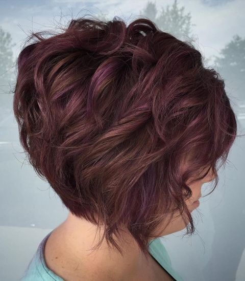 Wavy short bob with purple balayage