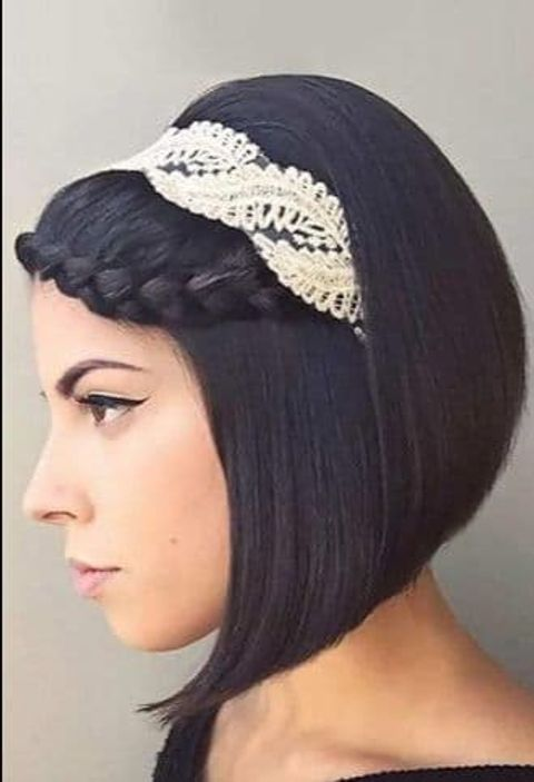 Braids wedding hairstyle with headband for short hair