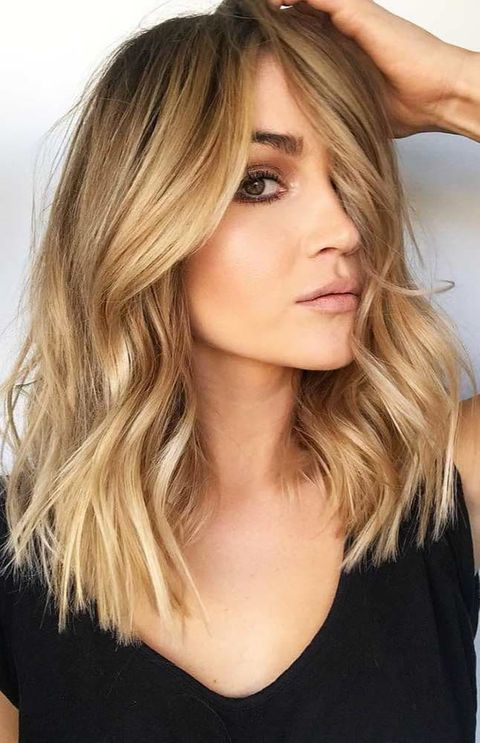 Golden brown hair balayage
