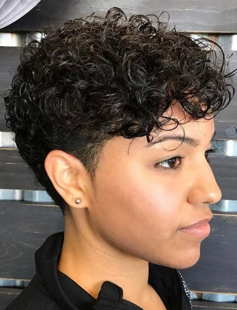 Long Top Shaved Sides Wavy Pixie