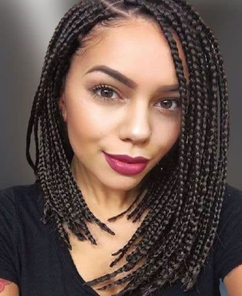 Asymmetrical bob with braids