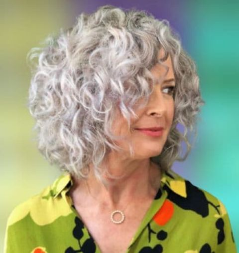 Grey hair curly short haircut