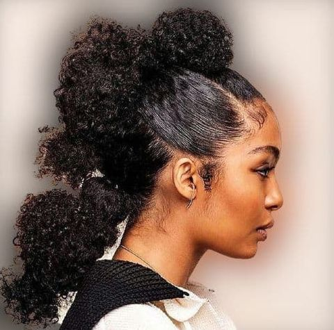 Curly ponytail braids