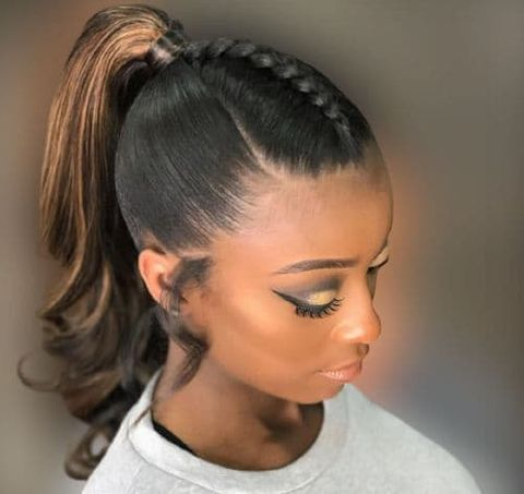 Top braid high ponytail