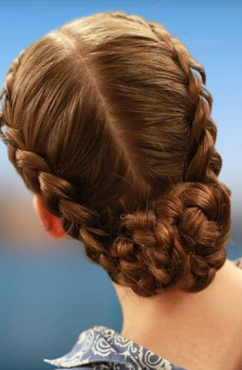 Braids bun hairstyles for school