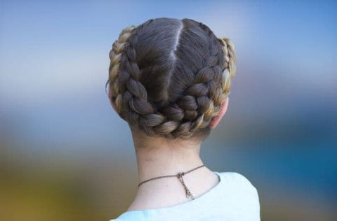 Bun braids hair for school girls
