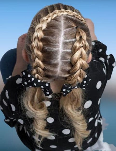 Double braids for school girls